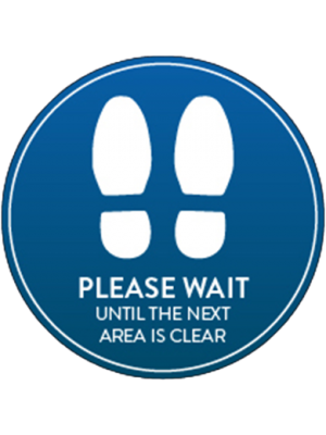Social distancing sticker - Please wait here