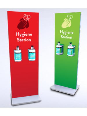 Double bottle sanitiser stand
